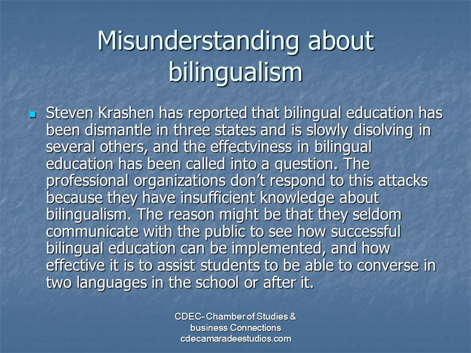 Misunderstanding about bilingualism