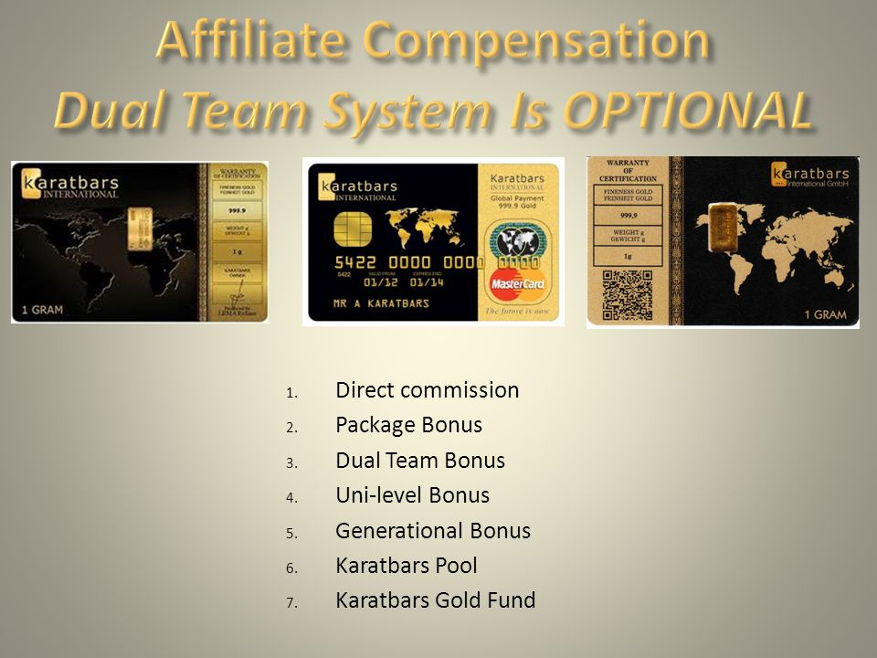 Affiliate Compensation Dual Team System Is OPTIONAL