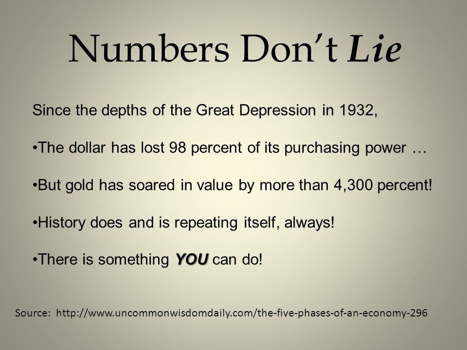 Numbers Don't Lie Since the depths of the Great Depression in 1932,