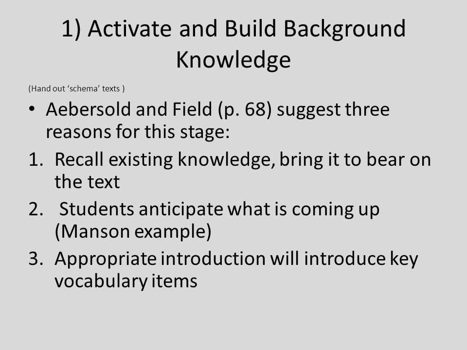 1) Activate and Build Background Knowledge