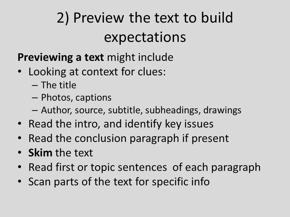 2) Preview the text to build expectations
