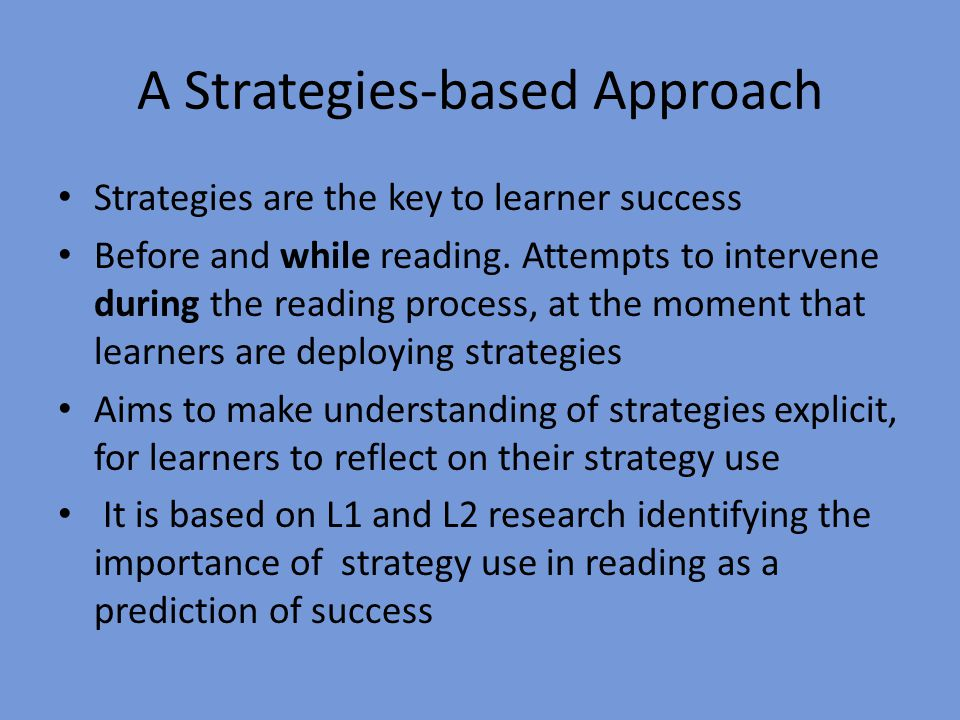 A Strategies-based Approach