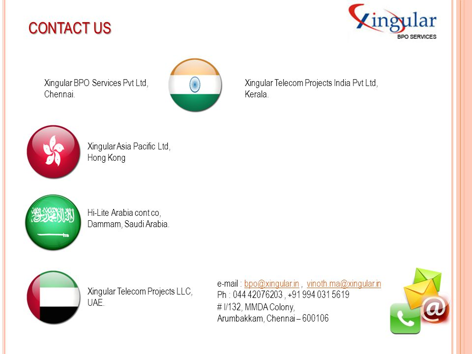 CONTACT US Xingular BPO Services Pvt Ltd, Chennai.