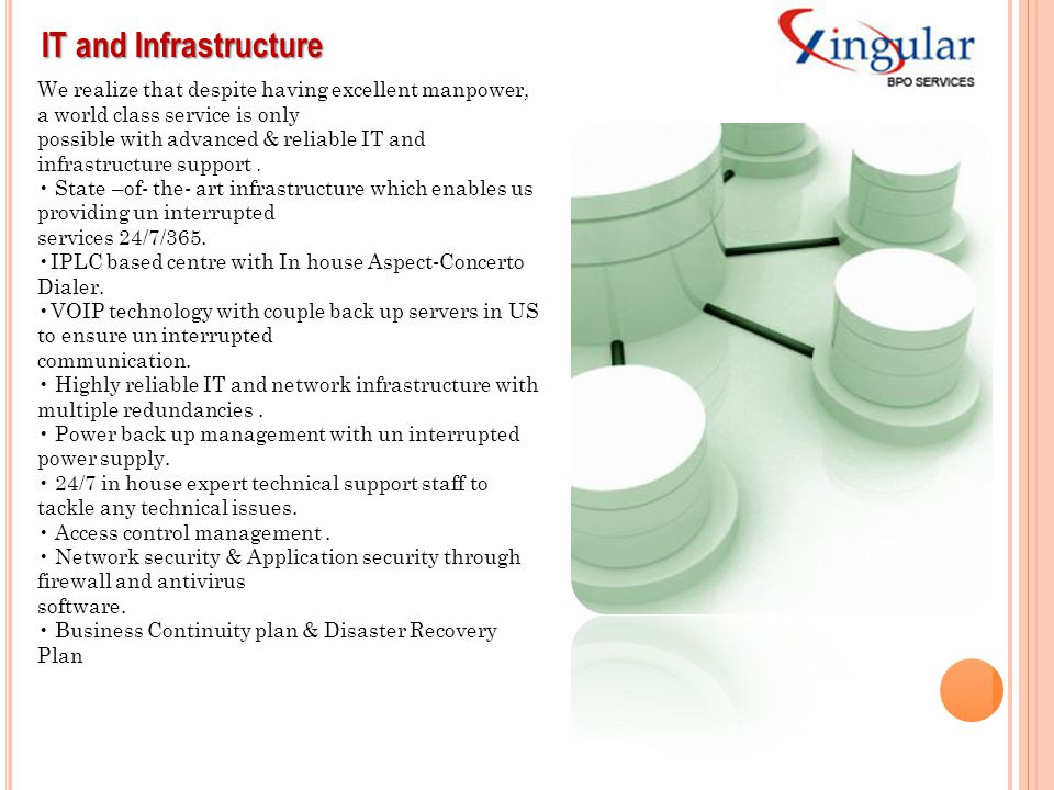 IT and Infrastructure We realize that despite having excellent manpower, a world class service is only.