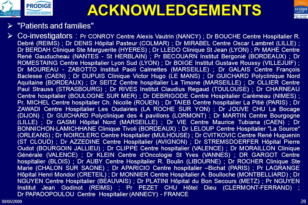 ACKNOWLEDGEMENTS Patients and families