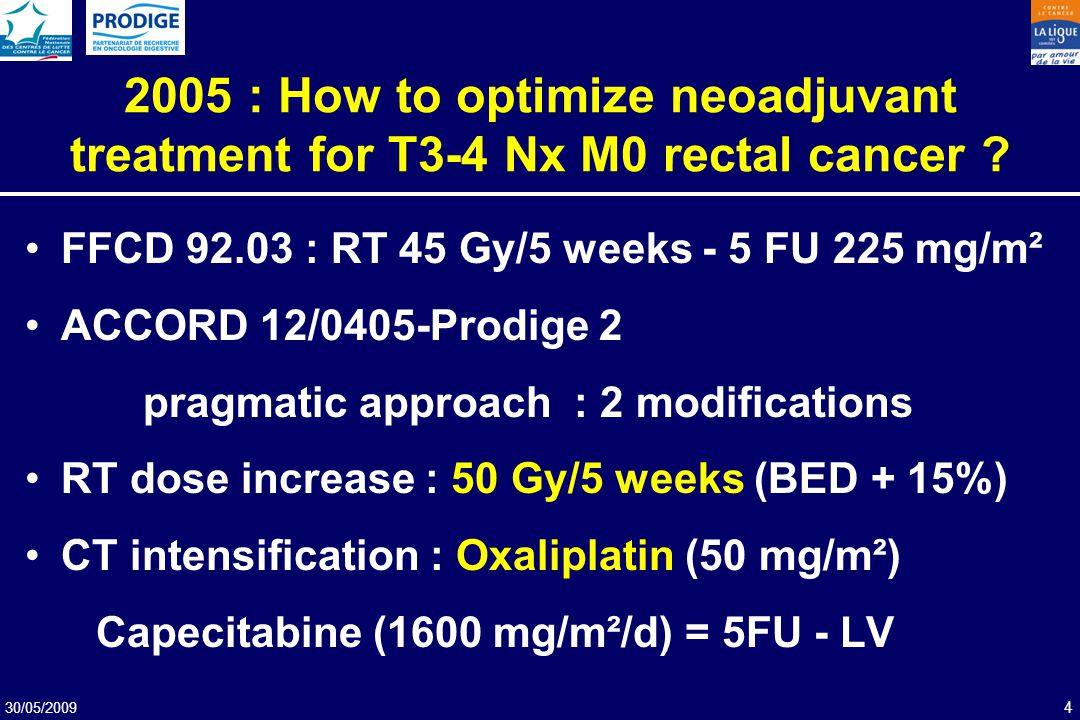 2005 : How to optimize neoadjuvant treatment for T3-4 Nx M0 rectal cancer
