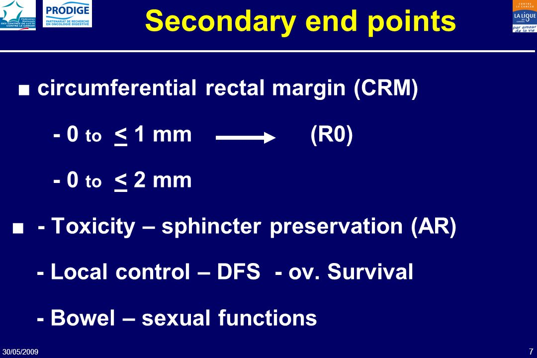 Secondary end points ■ circumferential rectal margin (CRM)