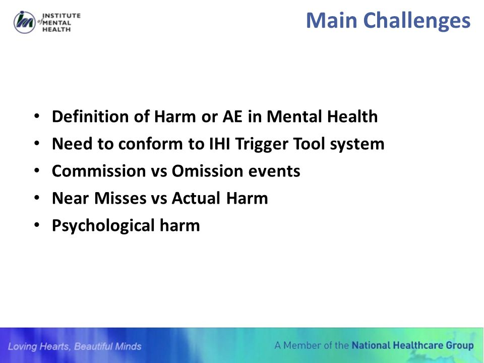 Main Challenges Definition of Harm or AE in Mental Health