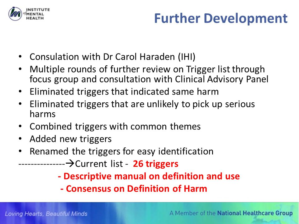 Further Development Consulation with Dr Carol Haraden (IHI)