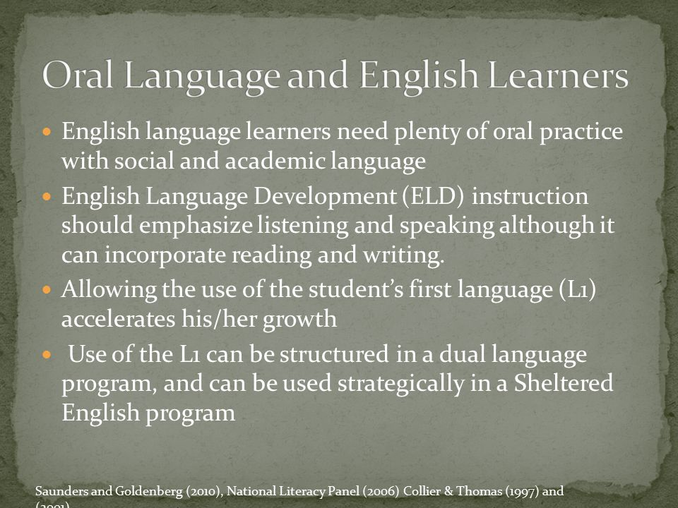 Oral Language and English Learners
