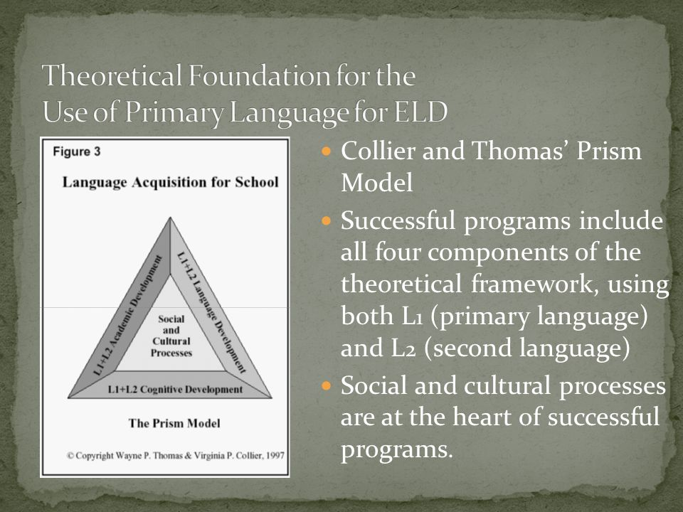 Theoretical Foundation for the Use of Primary Language for ELD