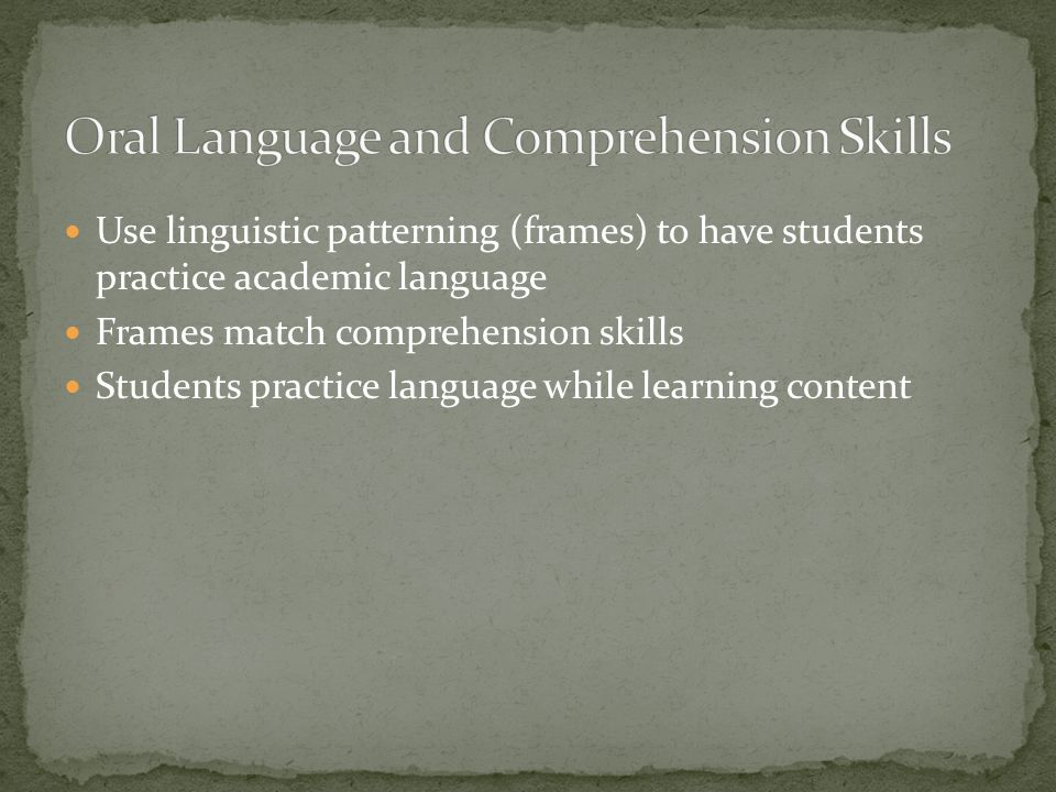 Oral Language and Comprehension Skills