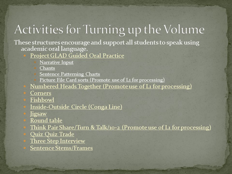 Activities for Turning up the Volume
