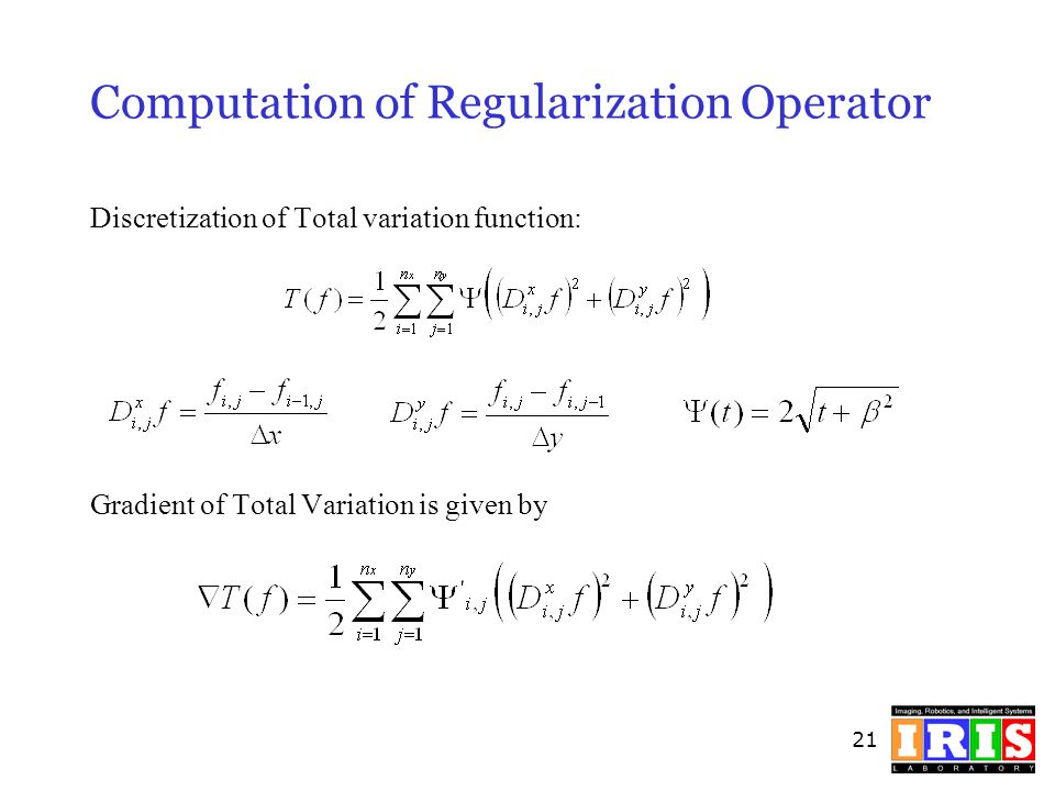 Computation of Regularization Operator