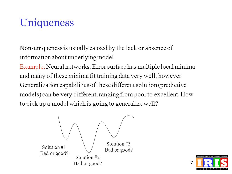 Uniqueness Non-uniqueness is usually caused by the lack or absence of