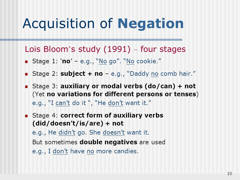 Acquisition of Negation