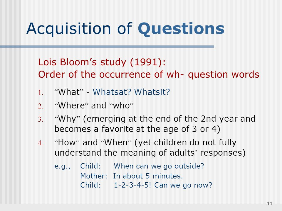 Acquisition of Questions