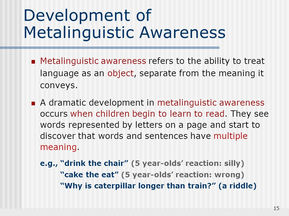 Development of Metalinguistic Awareness
