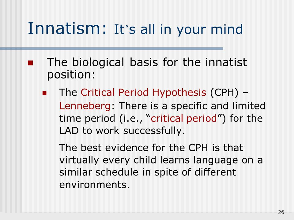 Innatism: It's all in your mind
