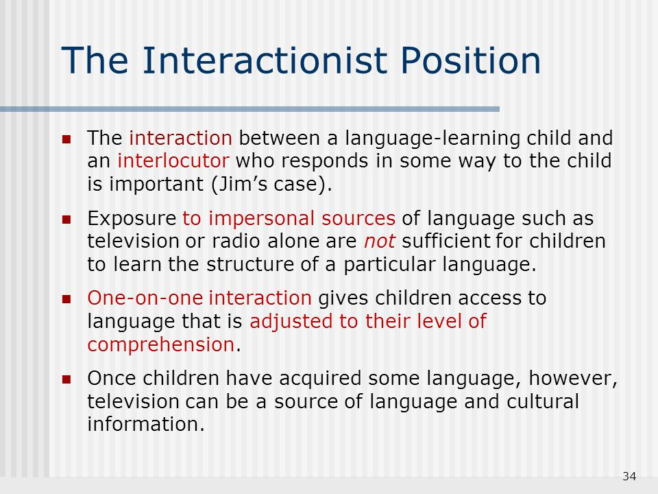 The Interactionist Position