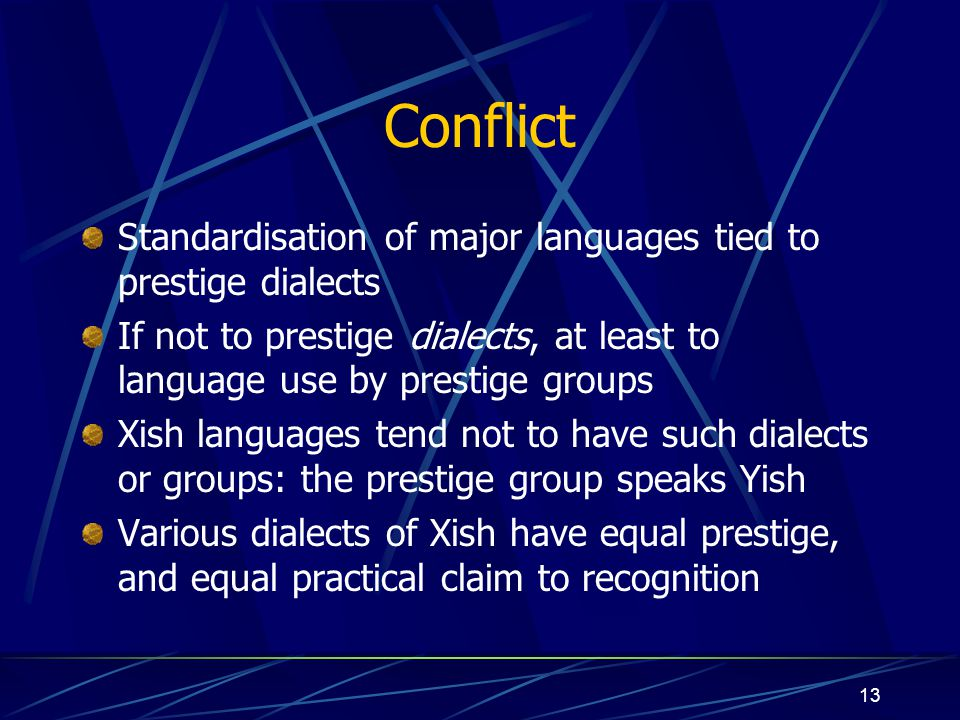 Conflict Standardisation of major languages tied to prestige dialects