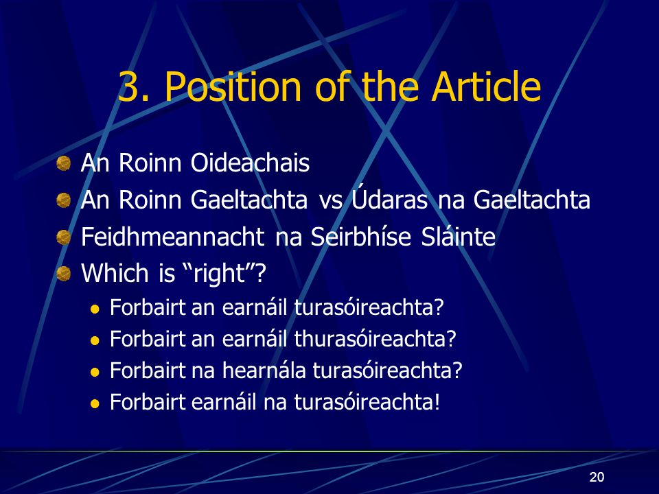 3. Position of the Article
