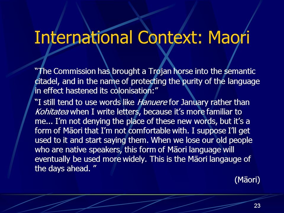 International Context: Maori