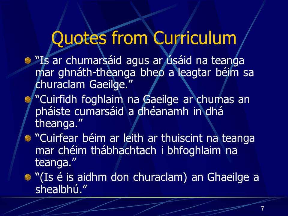 Quotes from Curriculum