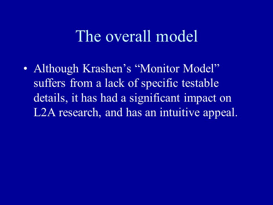 The overall model