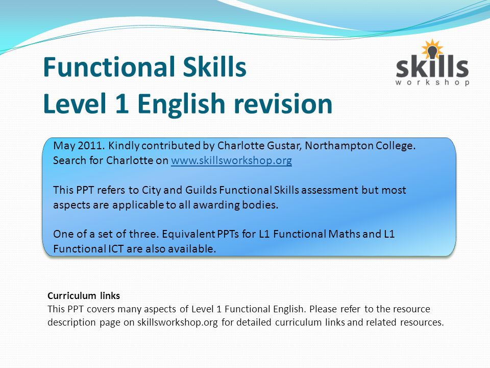 Functional Skills Level 1 English revision