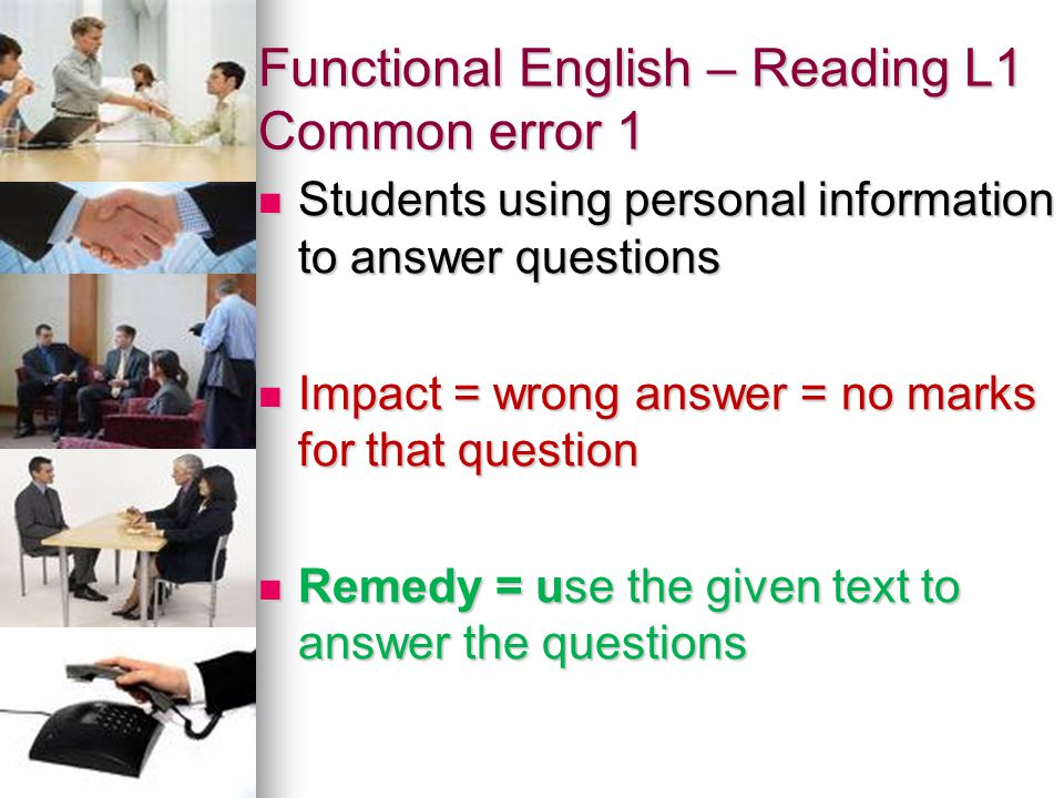 Functional English – Reading L1 Common error 1