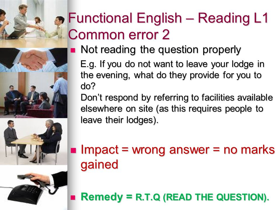 Functional English – Reading L1 Common error 2