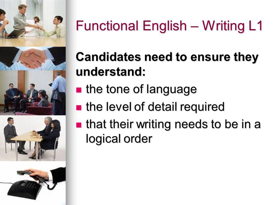 Functional English – Writing L1