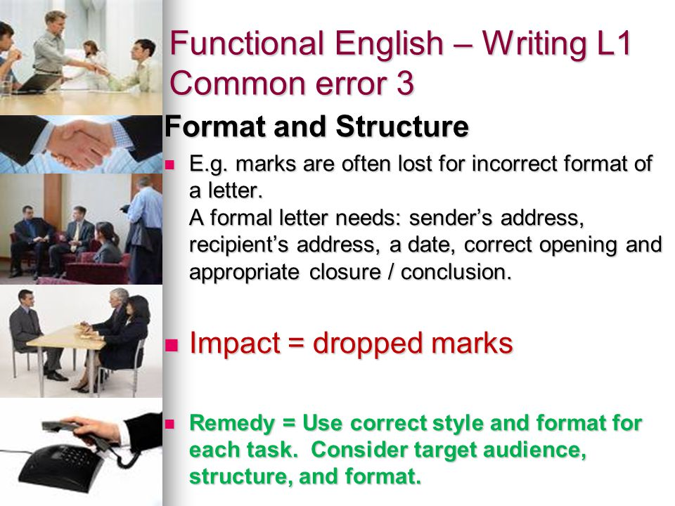 Functional English – Writing L1 Common error 3