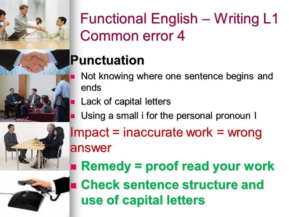 Functional English – Writing L1 Common error 4