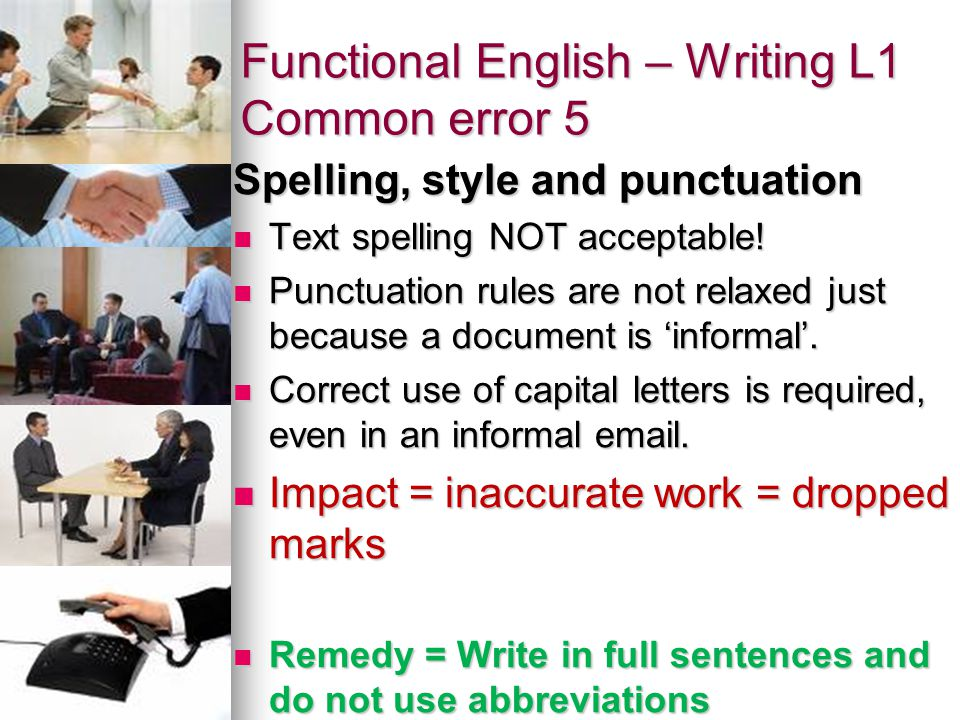 Functional English – Writing L1 Common error 5