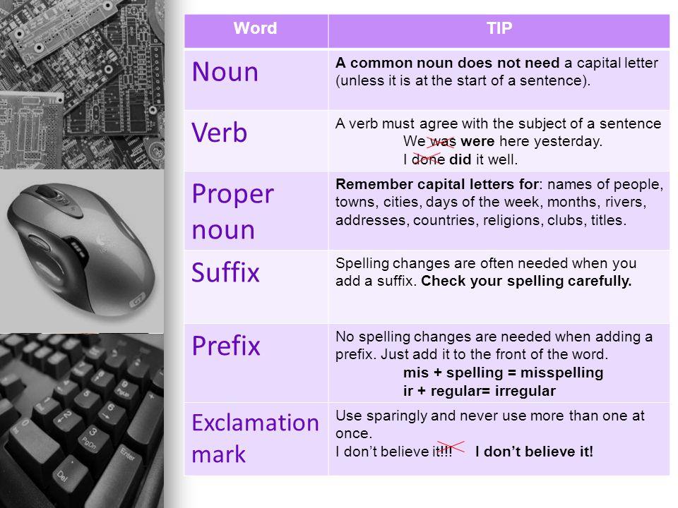 Noun Verb Proper noun Suffix Prefix Exclamation mark Word TIP