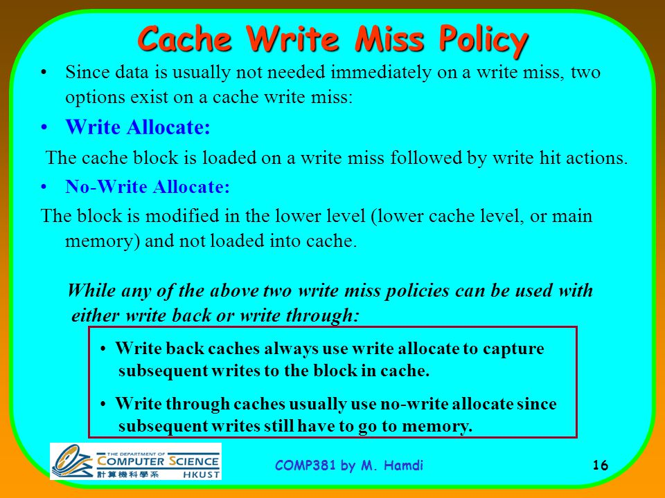 Cache Write Miss Policy