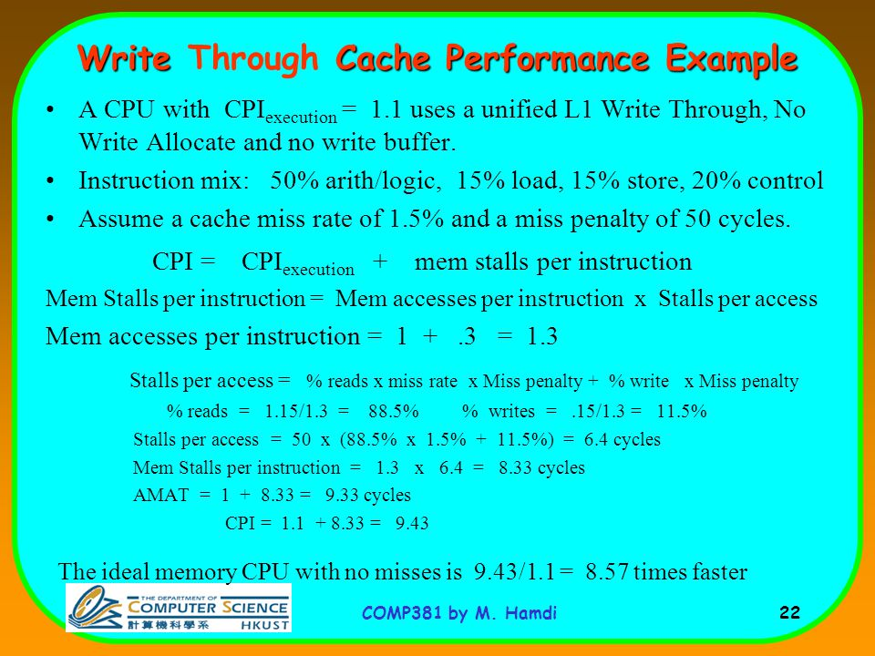 Write Through Cache Performance Example