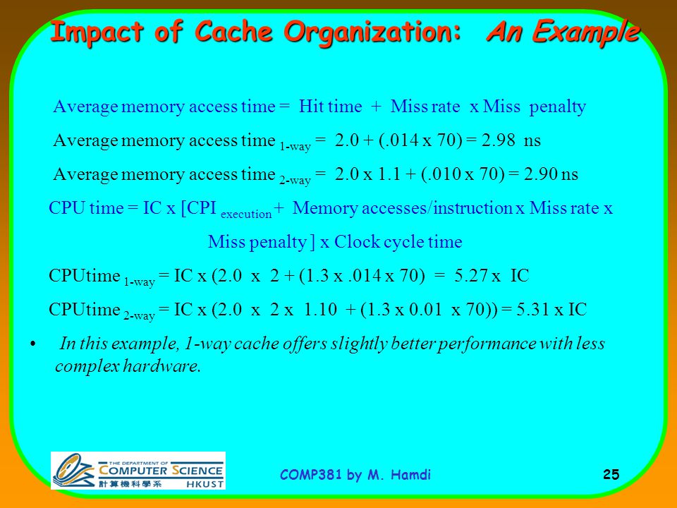 Impact of Cache Organization: An Example