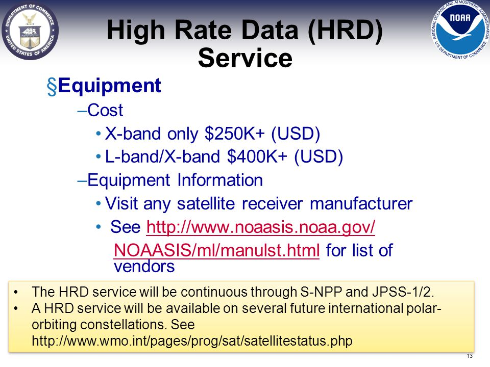 High Rate Data (HRD) Service