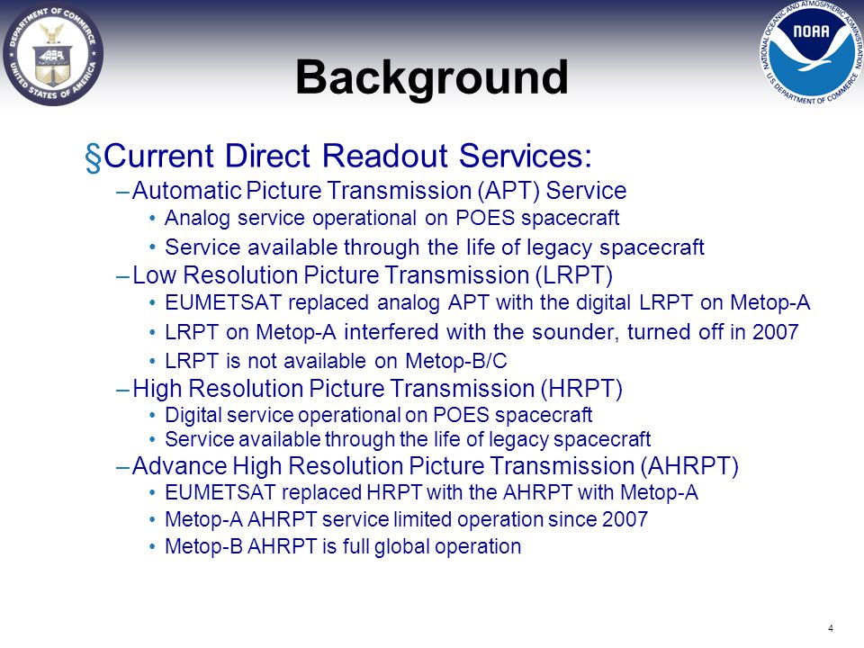Background Current Direct Readout Services: