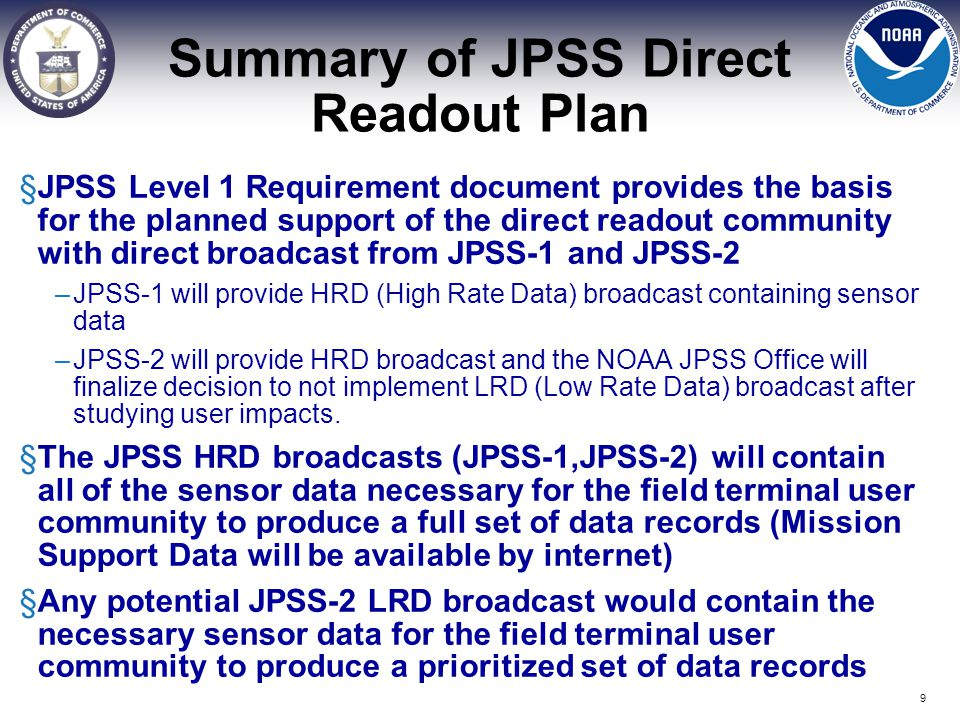 Summary of JPSS Direct Readout Plan