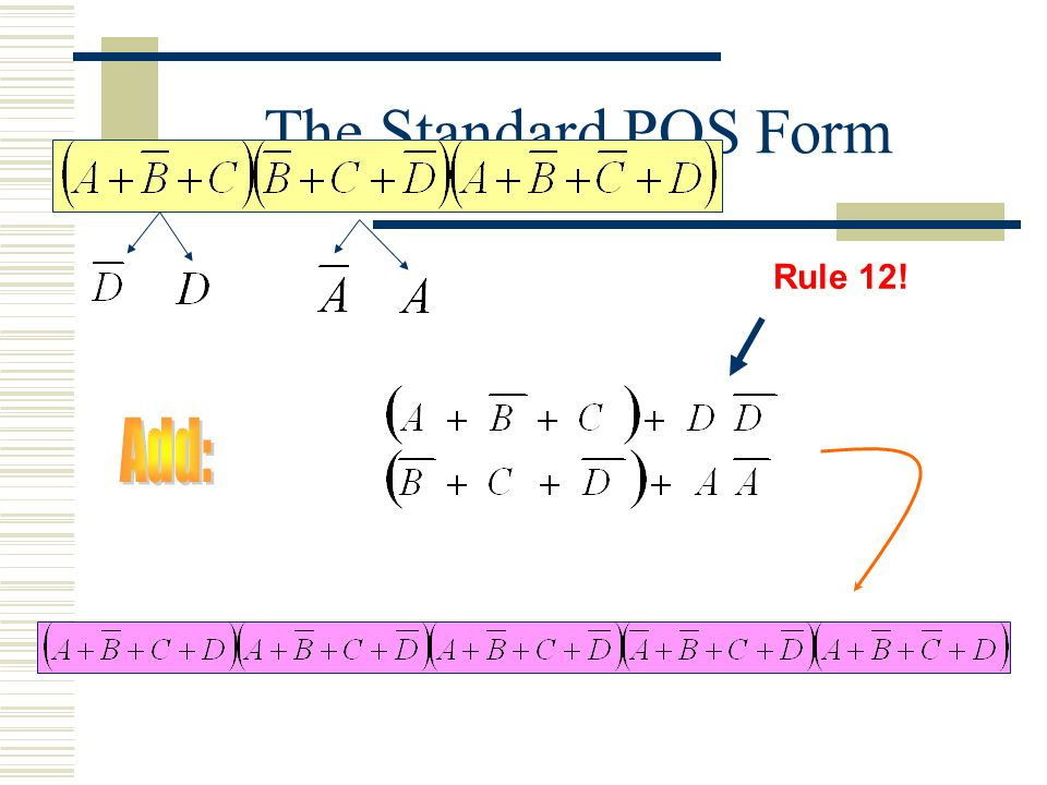The Standard POS Form Rule 12! Add: