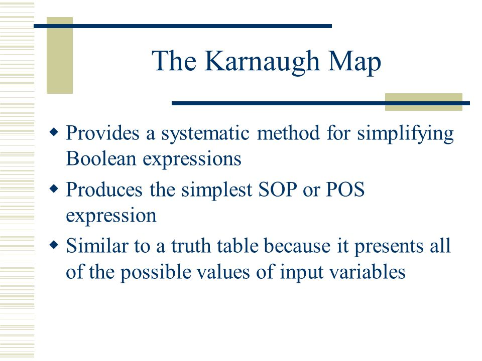 The Karnaugh Map Provides a systematic method for simplifying Boolean expressions. Produces the simplest SOP or POS expression.