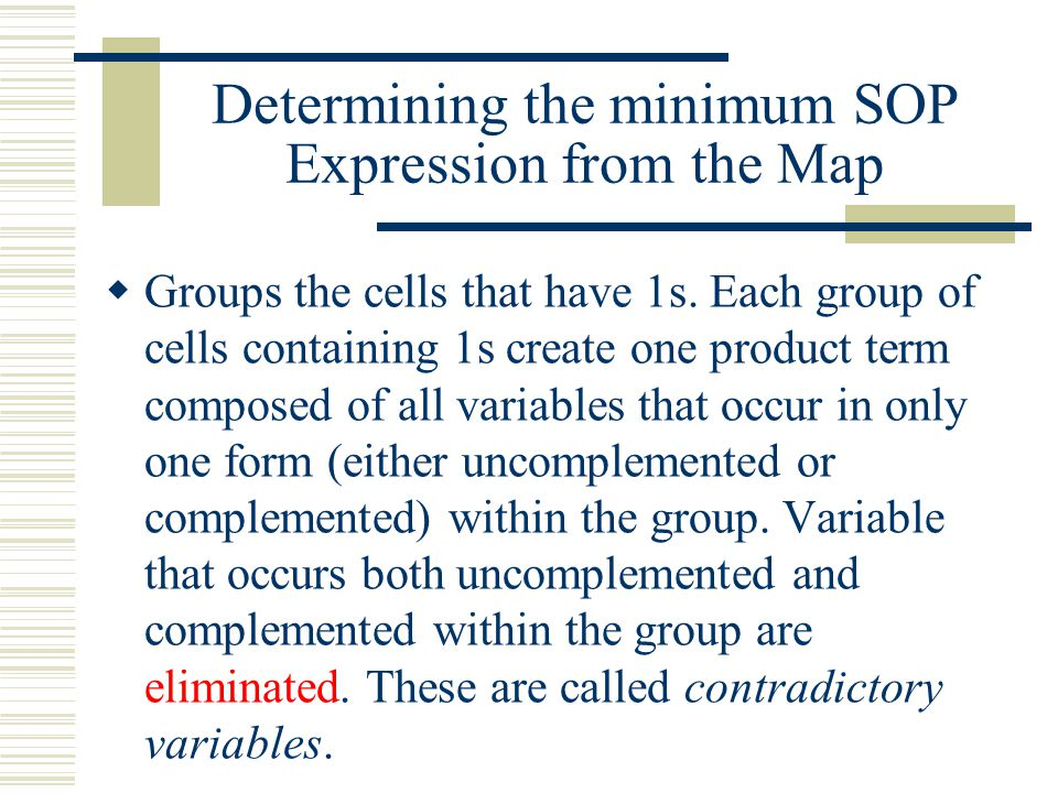 Determining the minimum SOP Expression from the Map