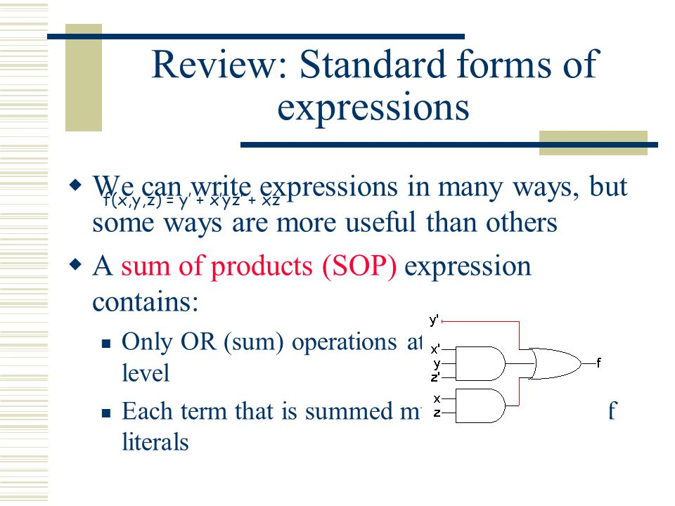 Review: Standard forms of expressions