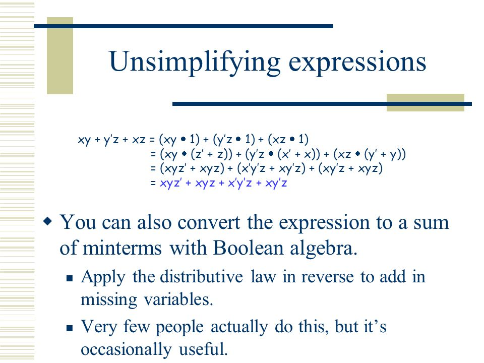 Unsimplifying expressions