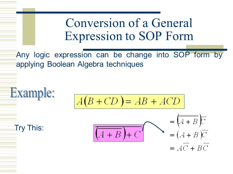 Conversion of a General Expression to SOP Form