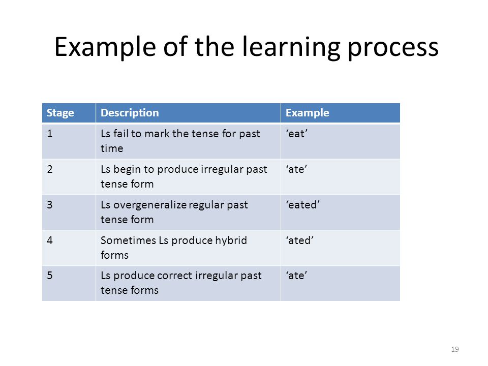 Example of the learning process